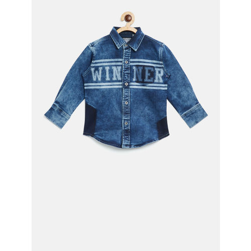 Palm Tree Boys Blue Regular Fit Printed Denim Shirt