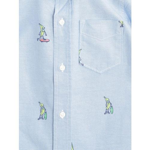 GAP Boys Blue Uniform Poplin Long Sleeve Shirt