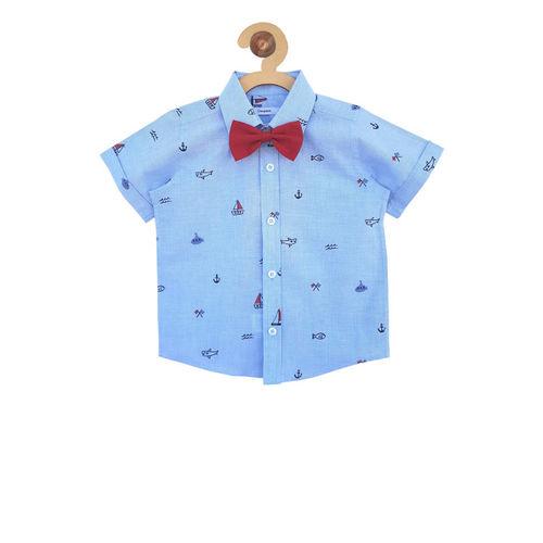 Campana Boys Blue Regular Fit Printed Casual Shirt