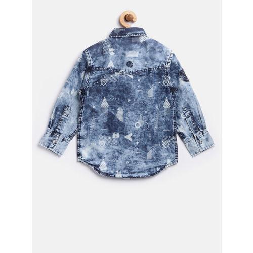 Palm Tree Boys Blue Regular Fit Printed Casual Shirt