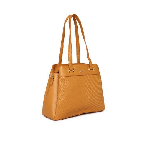 Lavie Yellow Textured Shoulder Bag