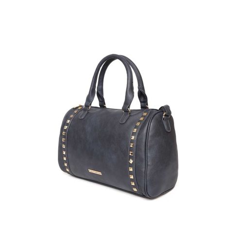 Caprese Navy Blue Solid Handheld Bag with Studded Detail