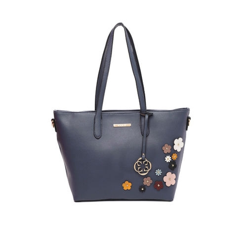CERIZ Navy Blue Applique Detailed Shoulder Bag