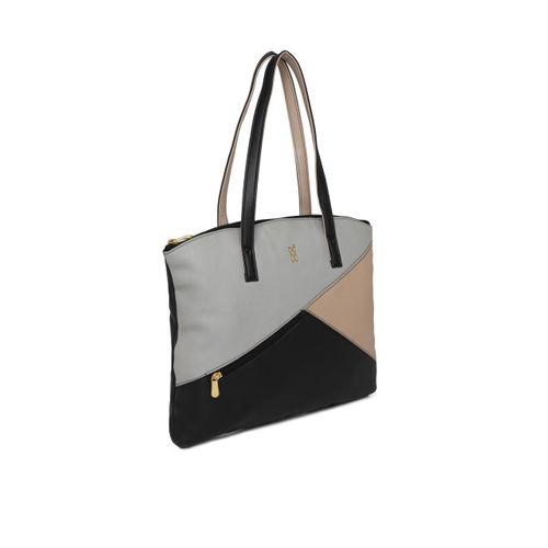 Baggit Black & Grey Colourblocked Shoulder Bag