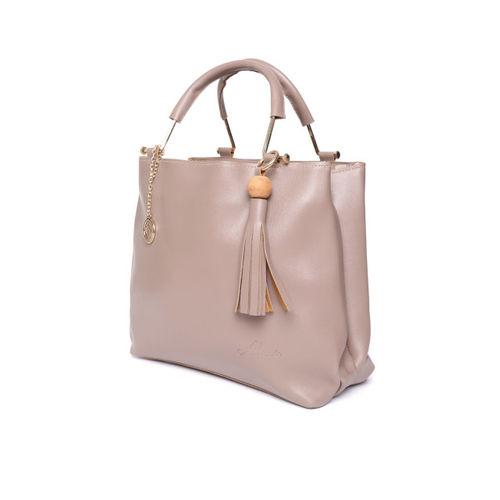 Alessia74 Beige Solid Handheld Bag