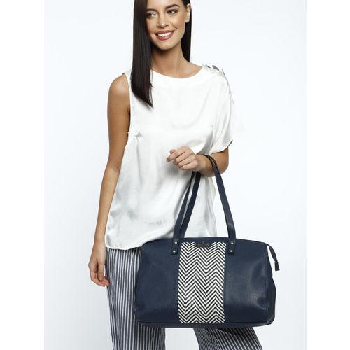 Lavie Navy Blue & White Textured Shoulder Bag