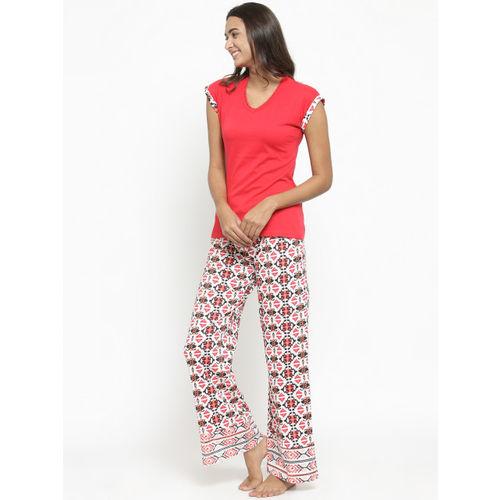 Slumber Jill Women Red & Off-White Solid Night suit FWSJ415