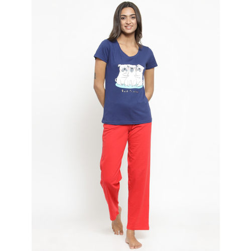 Slumber Jill Women Blue & Red Printed Night suit