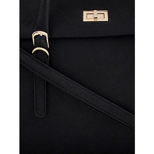 LaFille Black Solid Handheld Bag
