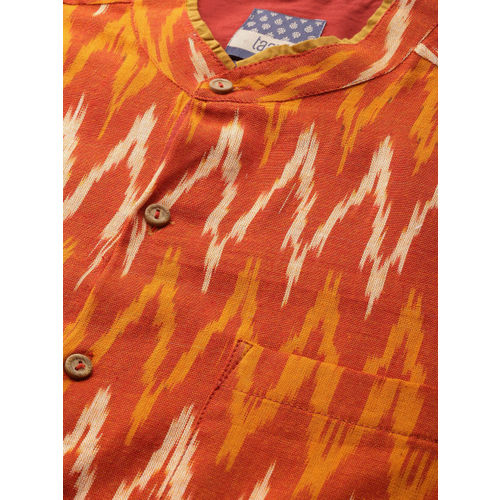 Taavi Men Orange Ikat Woven Design Regular Fit Casual Shirt with Roll-Up Sleeves