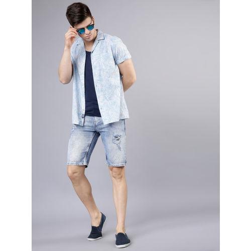 LOCOMOTIVE Men Blue Slim Fit Printed Casual Shirt