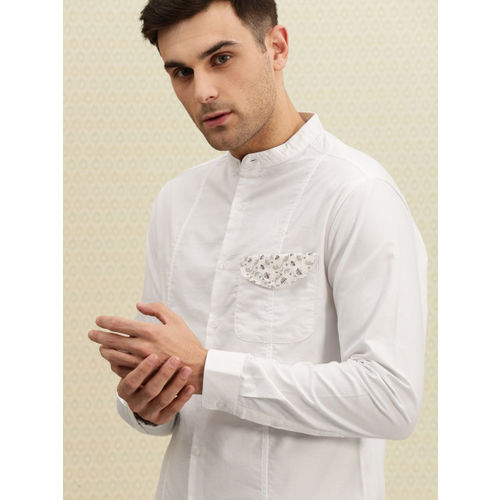 House of Pataudi Men White Solid Casual Shirt