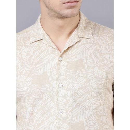 LOCOMOTIVE Men Beige Slim Fit Printed Casual Shirt