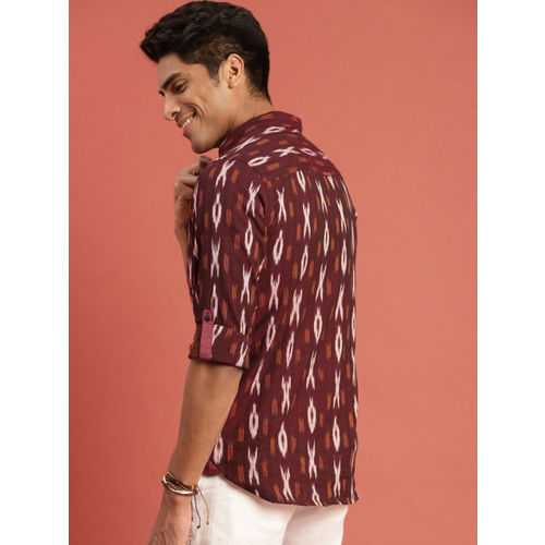 Taavi Men Maroon Ikat Woven Design Regular Fit Casual Shirt with Roll-Up Sleeves