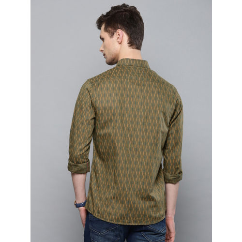 Louis Philippe Jeans Men Olive Green Slim Fit Printed Casual Shirt