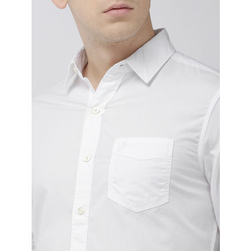 Denizen From Levis Men White Regular Fit Solid Casual Shirt