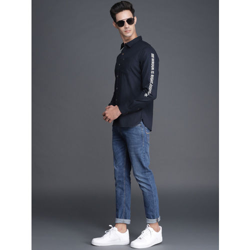WROGN Men Navy Blue Slim Fit Solid Casual Shirt
