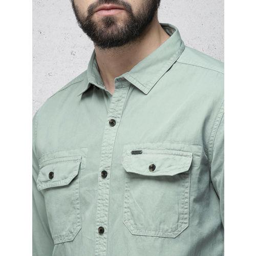 Ecko Unltd Men Sea Green Slim Fit Solid Casual Shirt