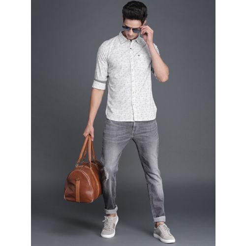 WROGN Men White & Blue Slim Fit Printed Casual Shirt