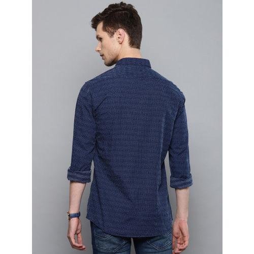 Louis Philippe Jeans Men Blue Slim Fit Self Design Casual Shirt