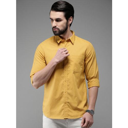 Anouk Men Mustard Yellow Regular Fit Checked Casual Shirt