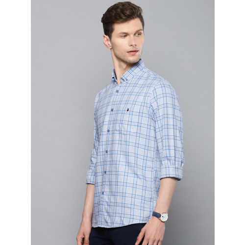 Louis Philippe Jeans Men Blue & White Slim Fit Checked Casual Shirt