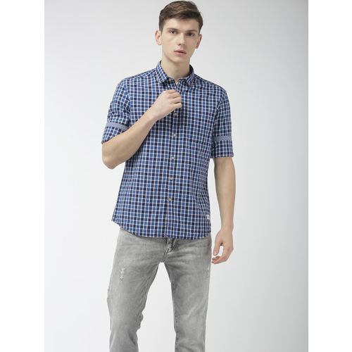 Flying Machine Men Navy Blue Slim Fit Checked Casual Shirt