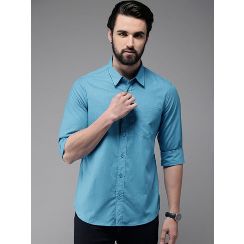Anouk Men Blue Regular Fit Checked Casual Shirt