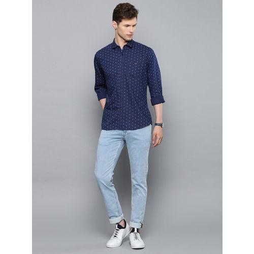 Louis Philippe Jeans Men Blue Slim Fit Printed Casual Shirt