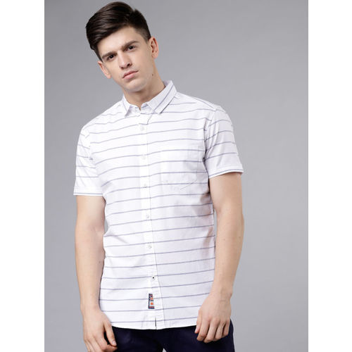 LOCOMOTIVE Men White & Blue Slim Fit Striped Casual Shirt