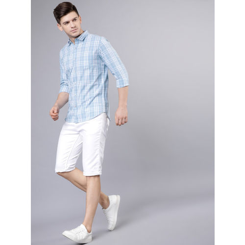 LOCOMOTIVE Men Blue & White Slim Fit Checked Casual Shirt