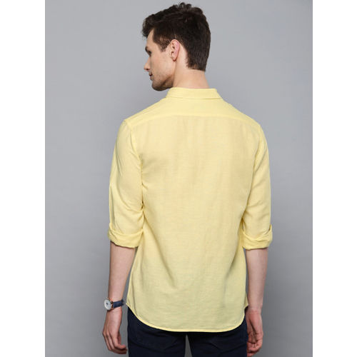Louis Philippe Jeans Men Yellow Slim Fit Solid Casual Shirt
