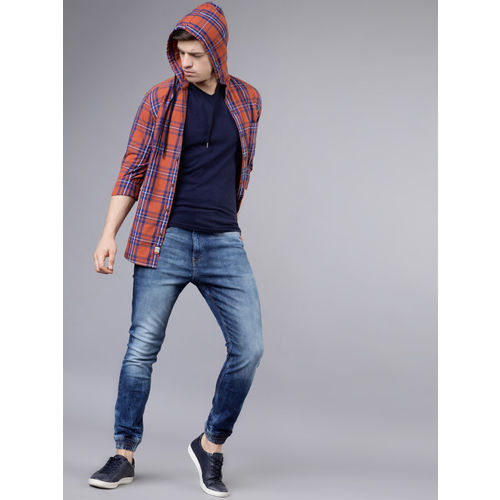 LOCOMOTIVE Men Rust Orange & Navy Blue Slim Fit Checked Hooded Casual Shirt