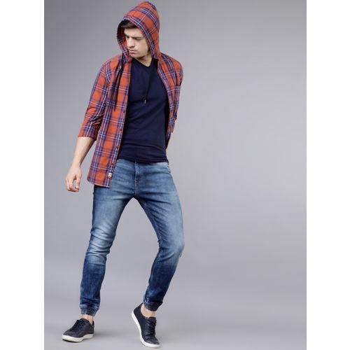 LOCOMOTIVE Men Rust Orange & Navy Blue Slim Fit Checked Hooded Casual Shirt