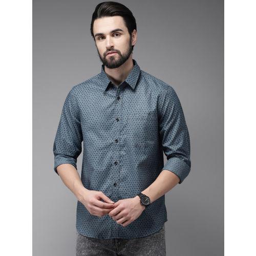 Anouk Men Teal Blue & Black Regular Fit Printed Casual Shirt