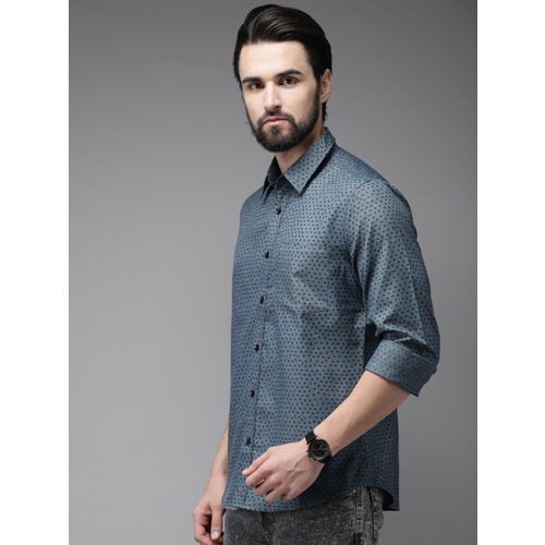 Anouk Men Teal Blue & Black Regular Fit Printed Casual Shirt