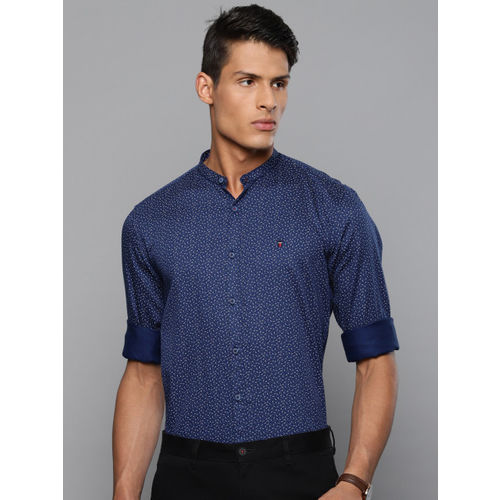 Louis Philippe Sport Men Navy Blue Slim Fit Printed Casual Shirt