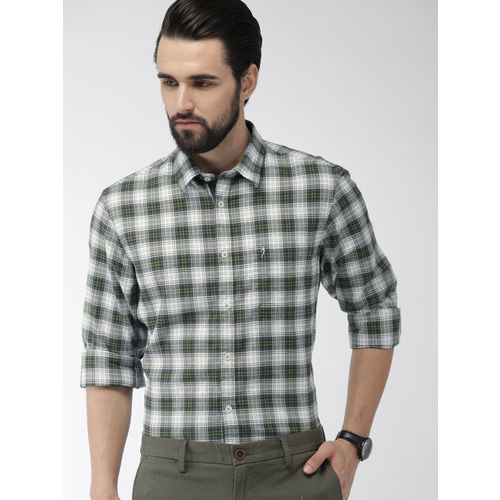 Indian Terrain Men Green & White Slim Fit Checked Smart Casual Shirt