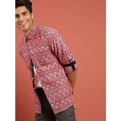 Taavi Men Red & White Ikat Woven Design Regular Fit Casual Shirt with Roll-Up Sleeves