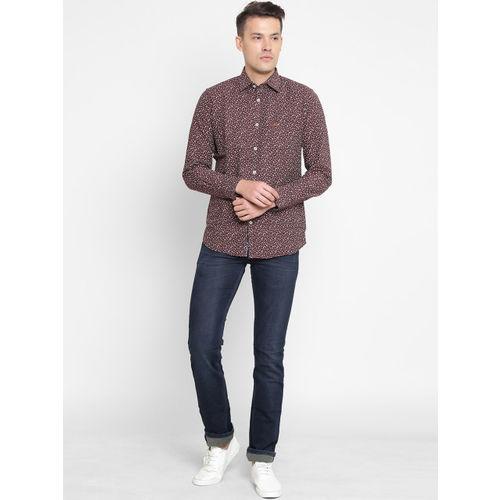 Crimsoune Club Men Maroon Slim Fit Printed Casual Shirt