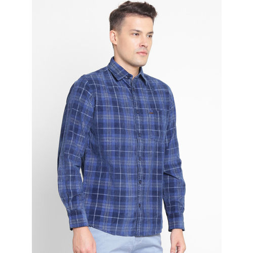 Crimsoune Club Men Navy Blue Slim Fit Checked Casual Shirt