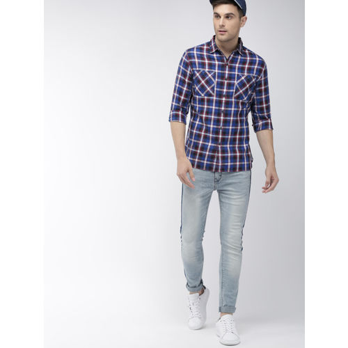 Denizen From Levis Men Blue & Red Regular Fit Checked Casual Shirt