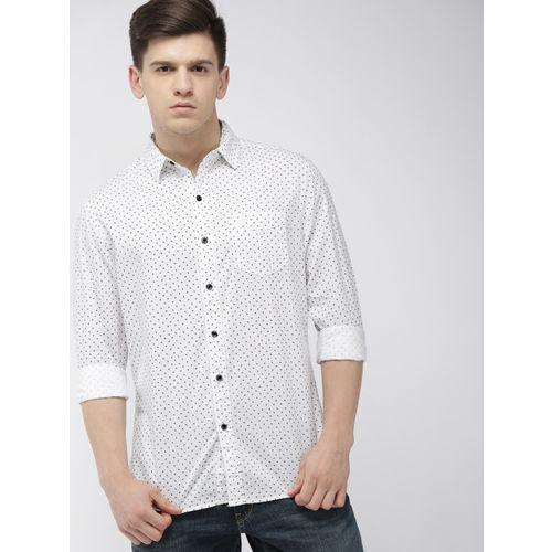 Denizen From Levis Men White Regular Fit Printed Casual Shirt