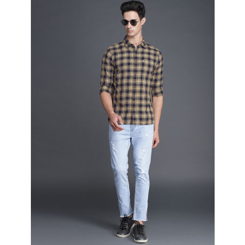 WROGN Men Beige & Navy Blue Slim Fit Checked Casual Shirt