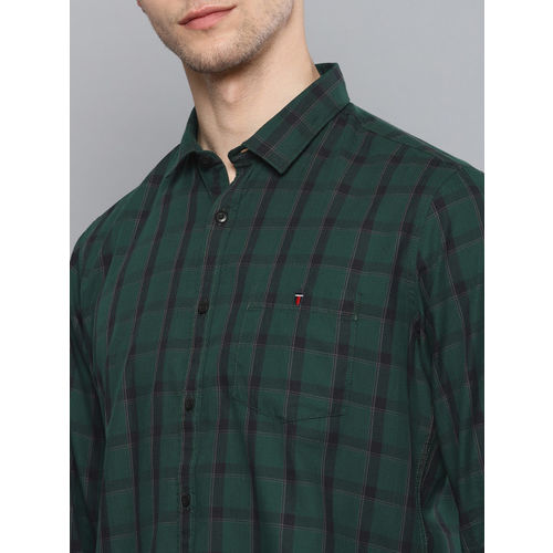 Louis Philippe Jeans Men Green & Navy Blue Slim Fit Checked Casual Shirt