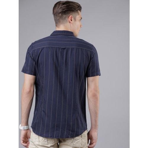 LOCOMOTIVE Men Navy Blue Slim Fit Striped Casual Shirt