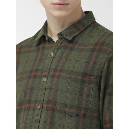 Flying Machine Men Olive Green & Rust Regular Fit Checked Casual Shirt