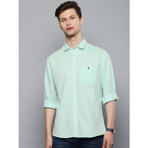 Louis Philippe Jeans Men Green Slim Fit Solid Casual Shirt
