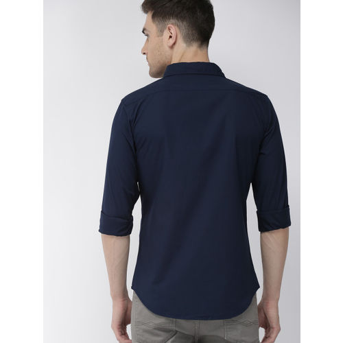 Denizen From Levis Men Navy Blue Regular Fit Solid Casual Shirt