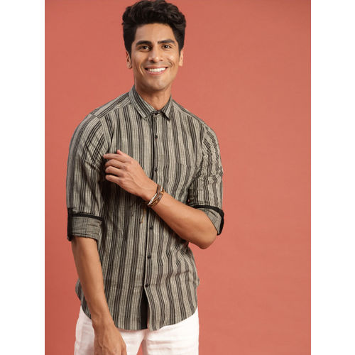Taavi Men Grey & Black Hand Block Print Legacy Striped Casual Shirt with Roll-Up Sleeves